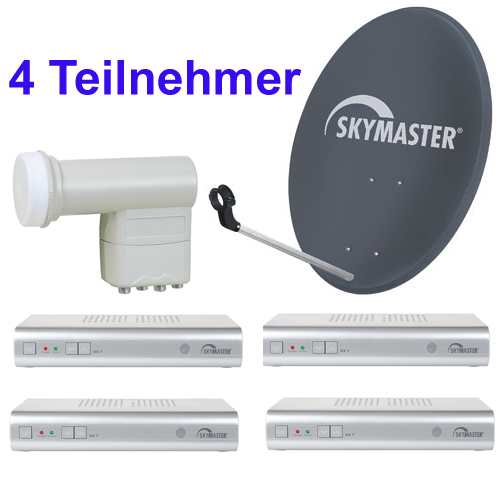 digitale 4 teilnehmer satanlage quad lnb 4 sat receiver. Black Bedroom Furniture Sets. Home Design Ideas